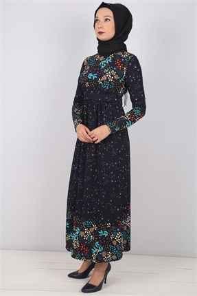 siyah tesettür çiçekli elbise modelleri