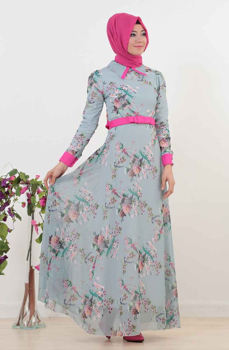 670df6047 Tesettür Çiçekli Elbise Modelleri   Moda Tesettür Giyim