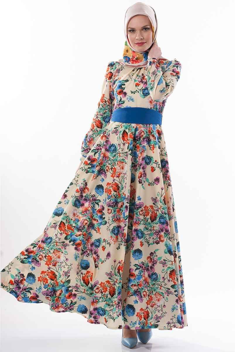 tesettür mavi çiçekli elbise modelleri