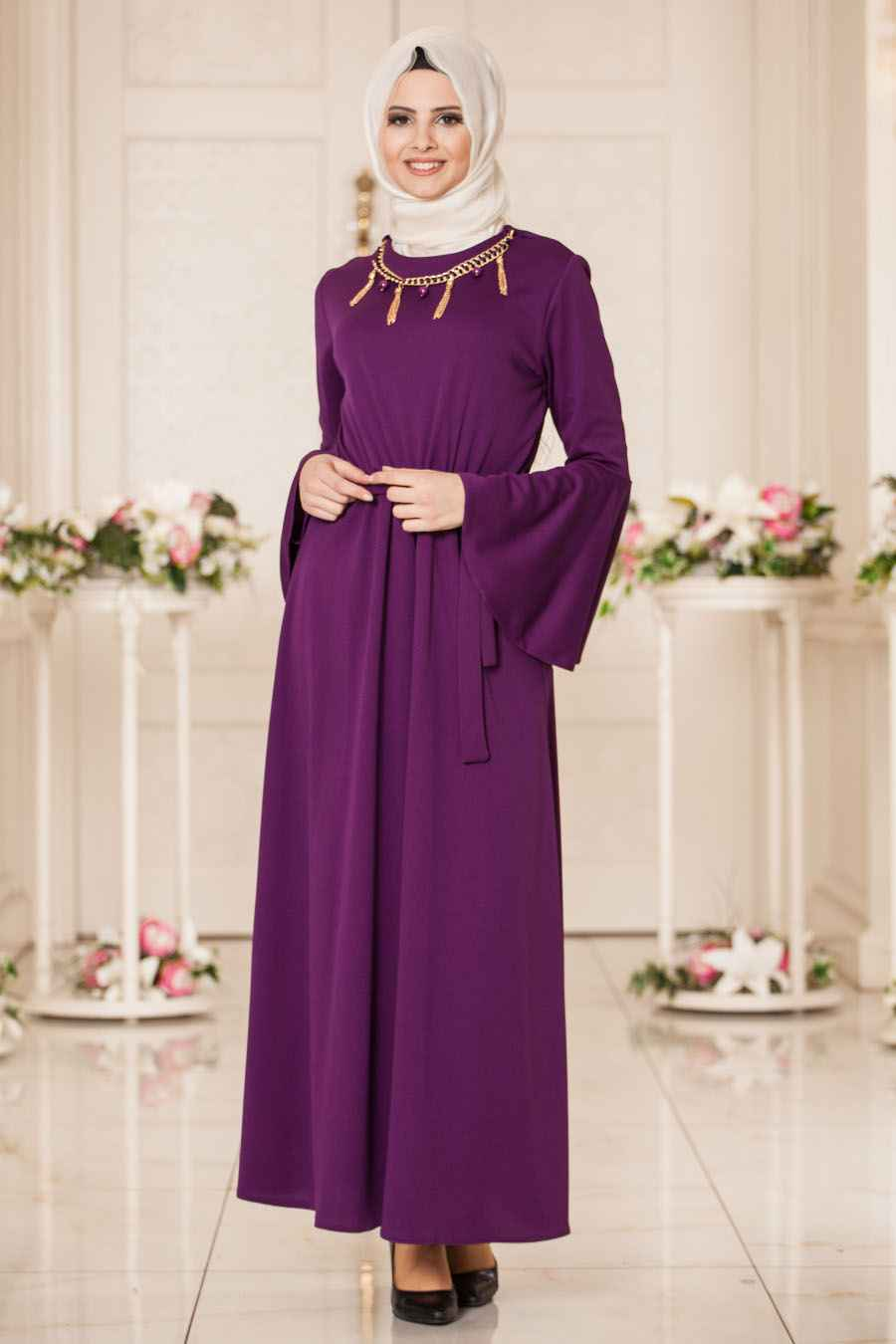 b19b676a3a556 tesettür volan kol elbise modelleri - Moda Tesettür Giyim