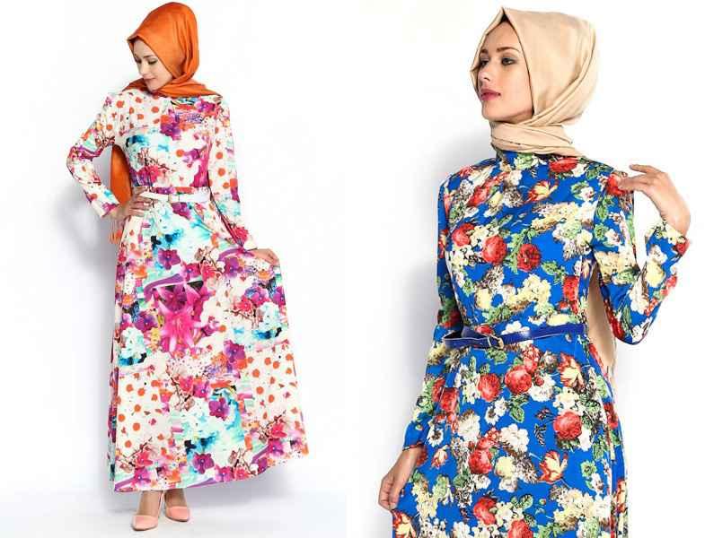 yazlık şık tesettür çiçekli elbise modelleri
