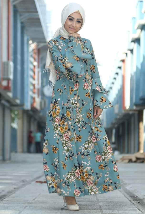 yazlık şık ve özel tesettür çiçekli elbise modelleri