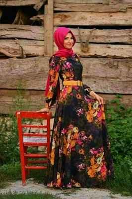 yazlık tesettür çiçekli elbise modelleri