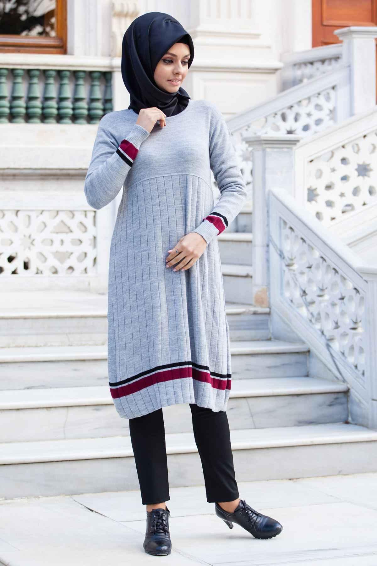 Çizgi Detaylı Sedanur Tesettür Triko Tunik Modelleri