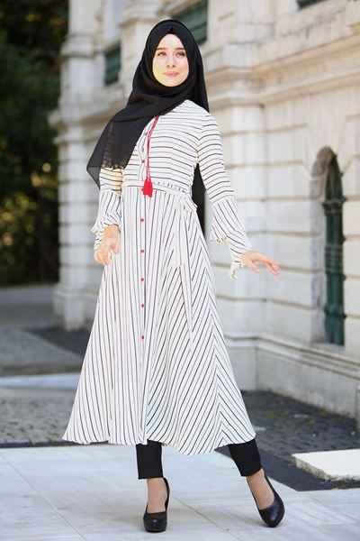 Çizgili Sedanur Tesettür Giyim Modelleri