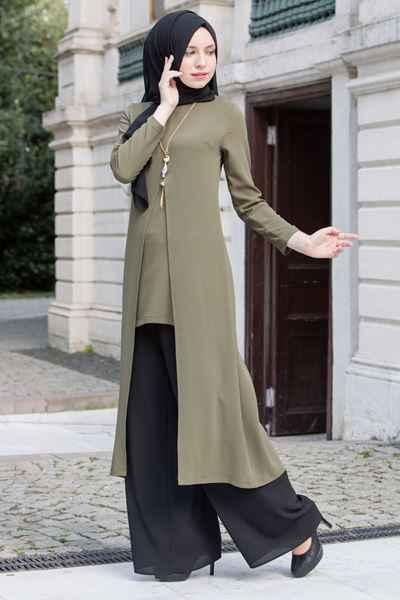 29d318c8320aa Aksesuarlı Pantolon Kombinli Sedanur Tesettür Tunik Modelleri