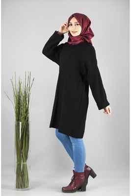 Arkası Bağcıklı Siyah Patırtı Tesettür Tunik Modelleri