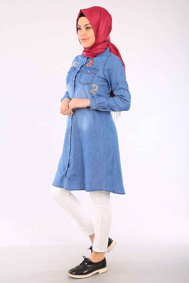 2018 Tesettür modasının trendi: Çizgili tunikler