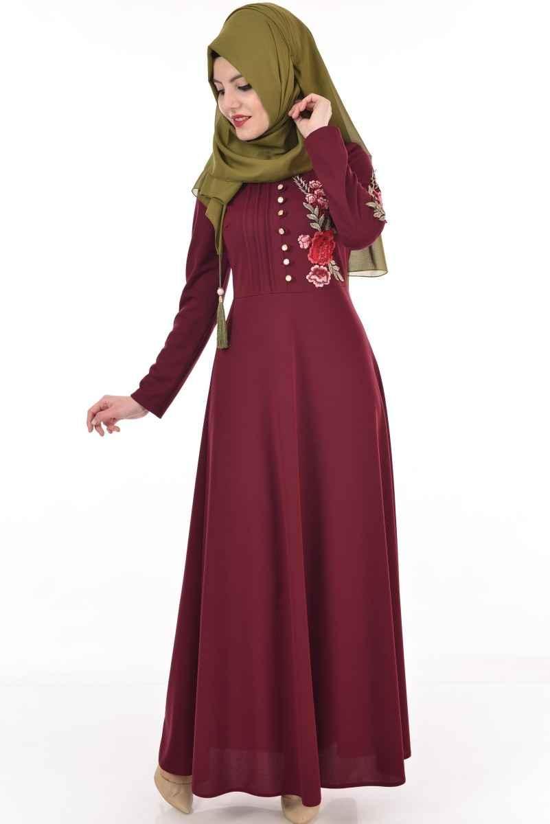 Bordo Tesettür Nakışlı Elbise Modelleri