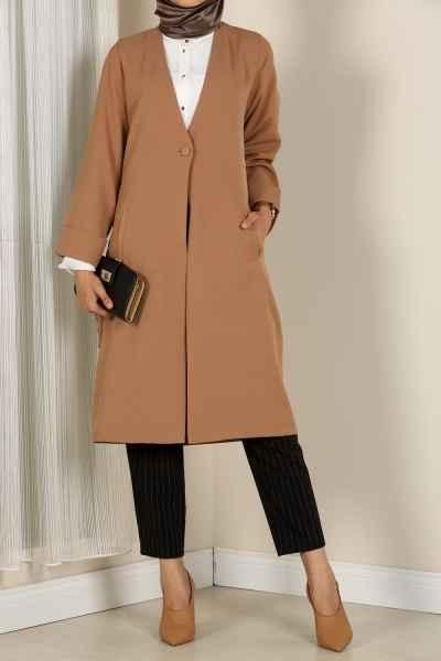 Düğmeli Şık Tesettür Uzun Ceket Modelleri
