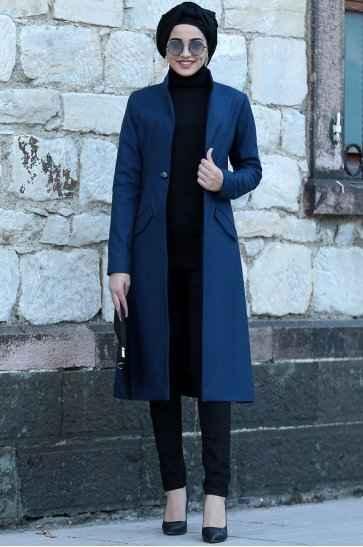 Düğmeli Tesettür Uzun Ceket Modelleri