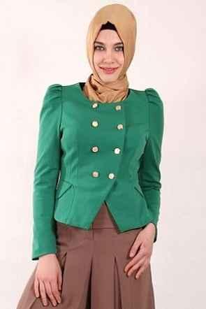 Düğmeli Yeşil Tesettür Kısa Ceket Modelleri