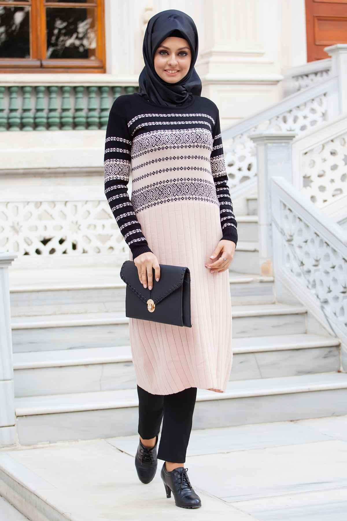 Deseenli Sedanur Tesettür Triko Tunik Modelleri