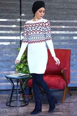 Desenli Triko Patırtı Tesettür Tunik Modelleri