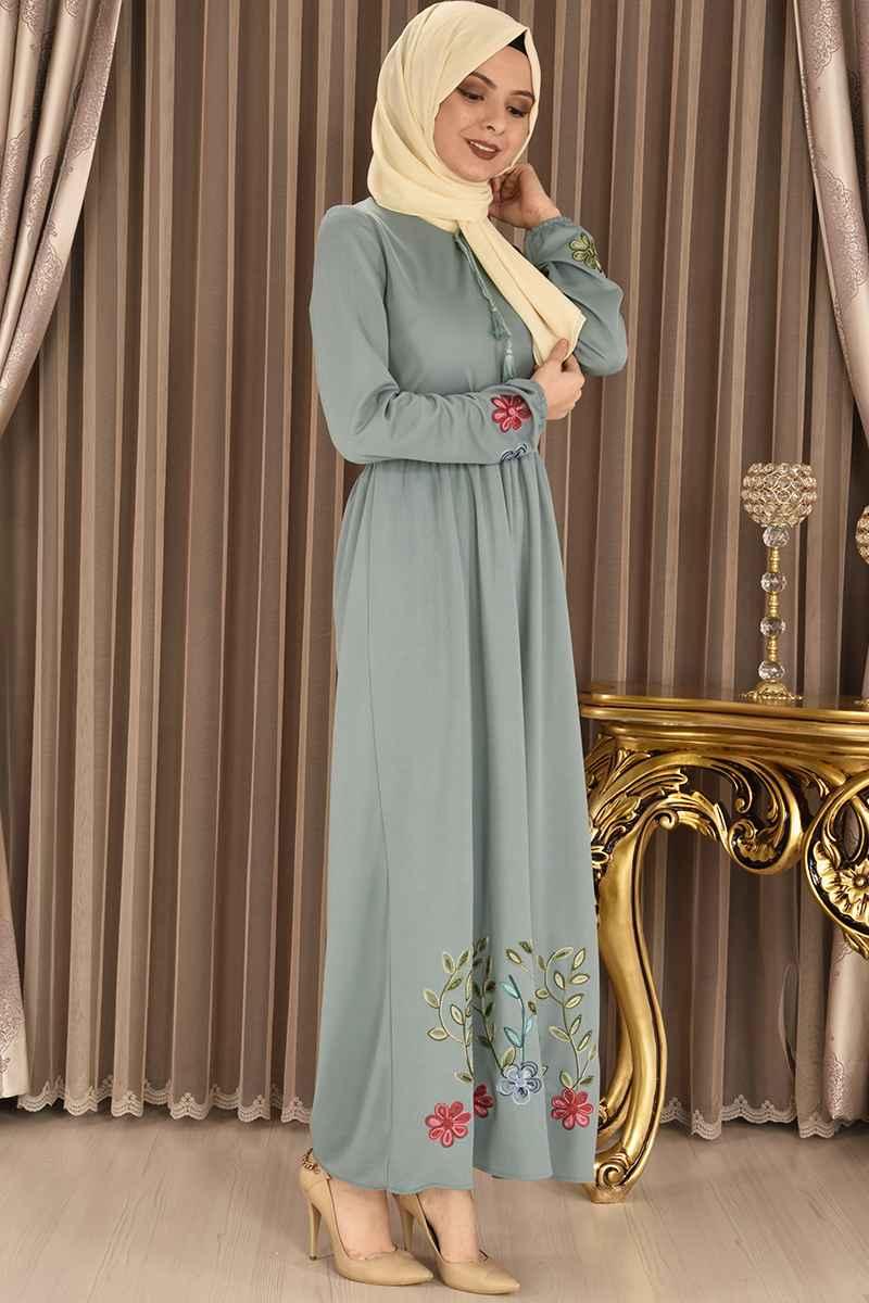 En Güzel Tesettür Nakışlı Elbise Modelleri