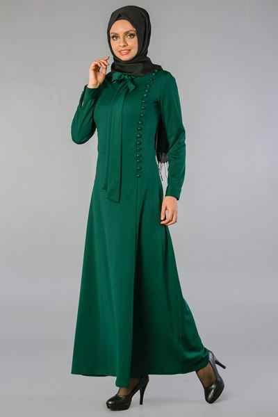 Fular ve Düğmeli Sedanur Tesettür Elbise Modelleri