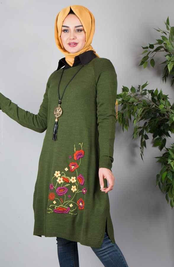 Genç İşi Tesettür Nakışlı Elbise Modelleri