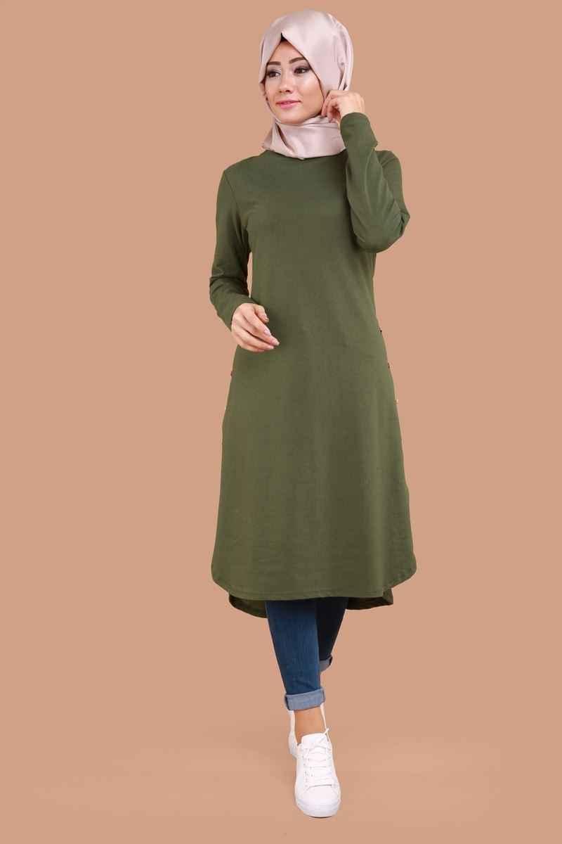 Haki Yeşili ModaSelvim Tesettür Tunik Modelleri
