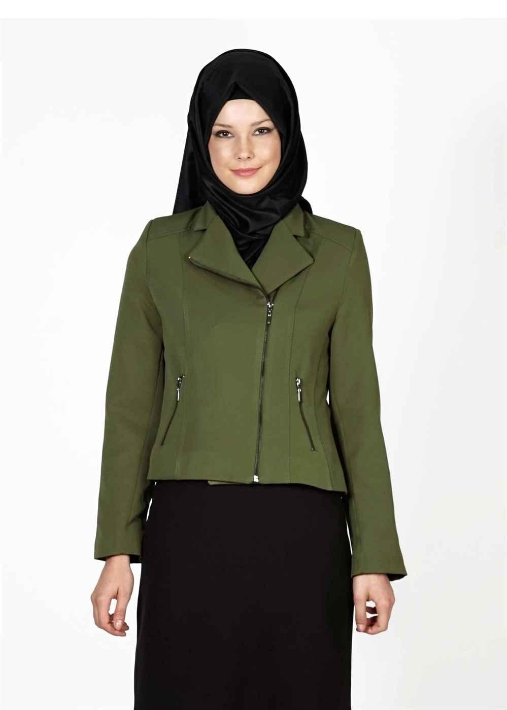 Haki Yeşili Tesettür Kısa Ceket Modelleri