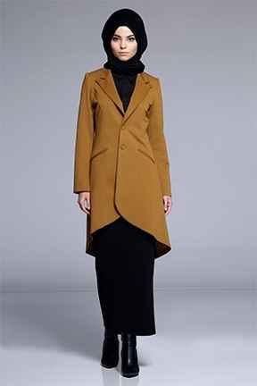 Hardal Sarısı Tesettür Uzun Ceket Modelleri