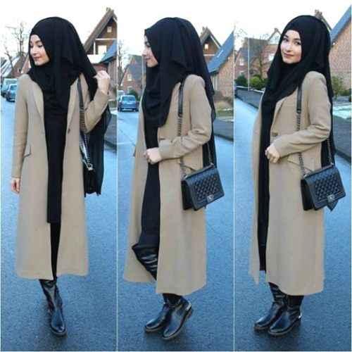 Kışlık Tesettür Uzun Ceket Modelleri
