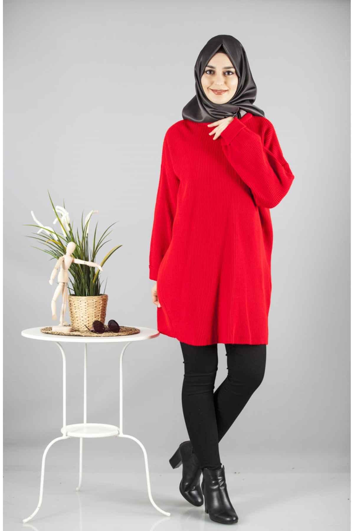 Kırmızı Renkli Patırtı Tesettür Tunik Modelleri