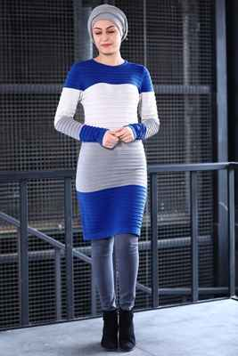 Kabartma Desenli Patırtı Tesettür Tunik Modelleri