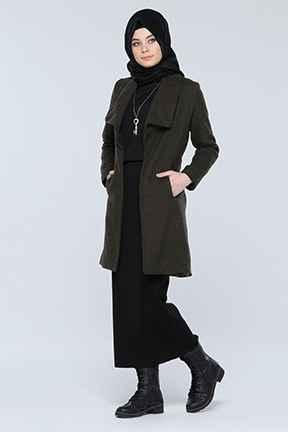 Kuşaklı Tesettür Uzun Ceket Modelleri