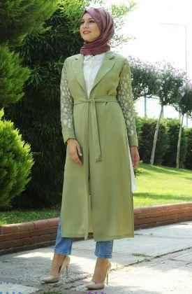 Kuşaklı Yeşil Tesettür Uzun Ceket Modelleri