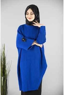 Mavi Çıkarılabilir Yaka Patırtı Tesettür Tunik Modelleri