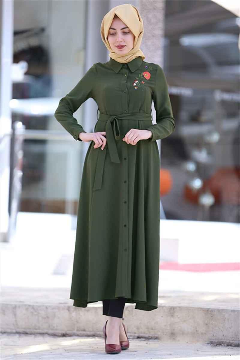 Modern Tesettür Nakışlı Elbise