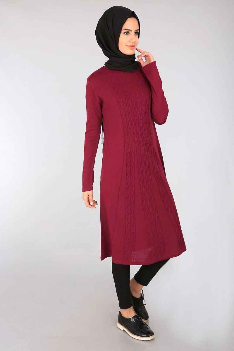 Ortası Desenli Bordo Bigdart Tesettür Tunik Modelleri