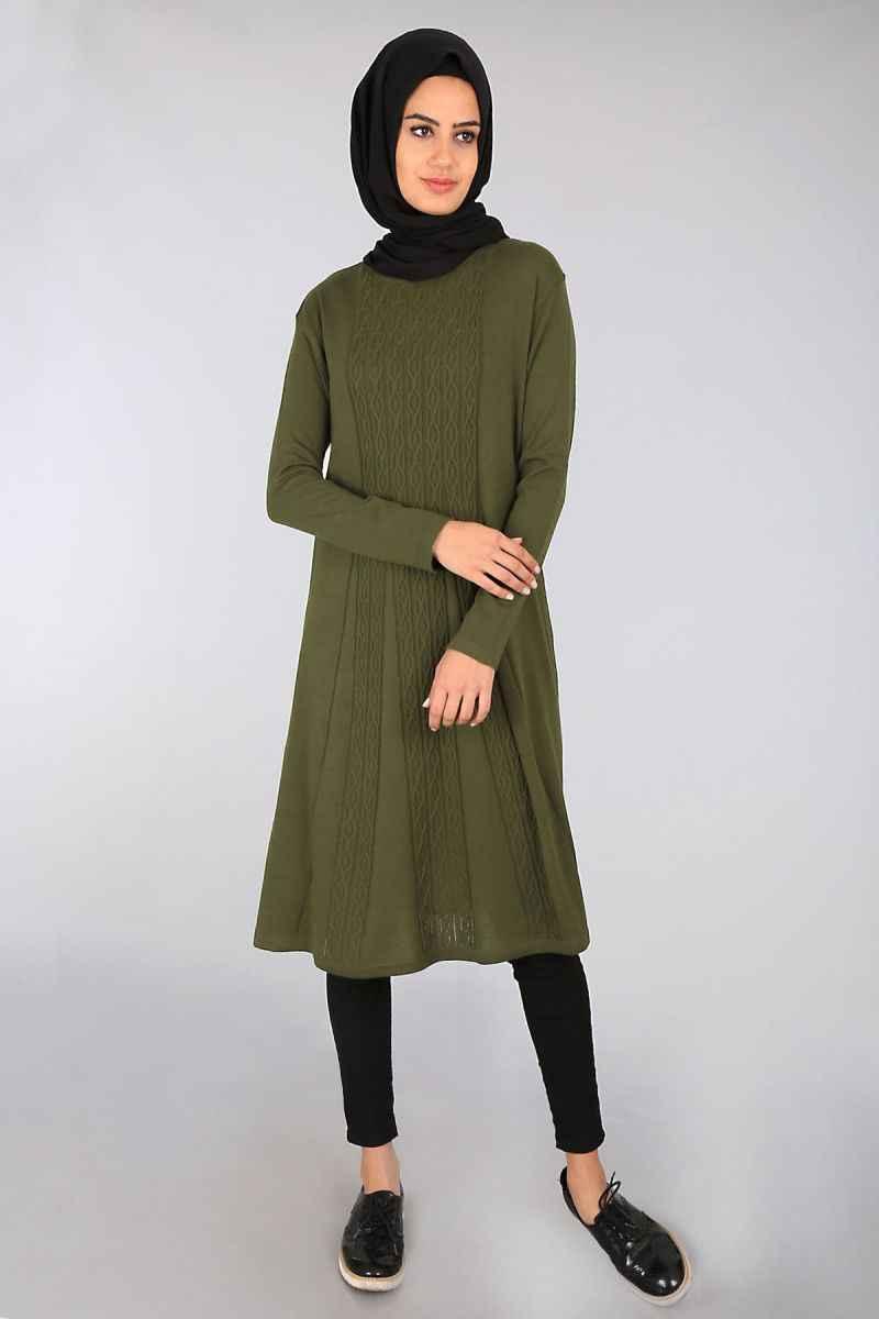 Ortası Desenli Haki Yeşili Bigdart Tesettür Tunik Modelleri