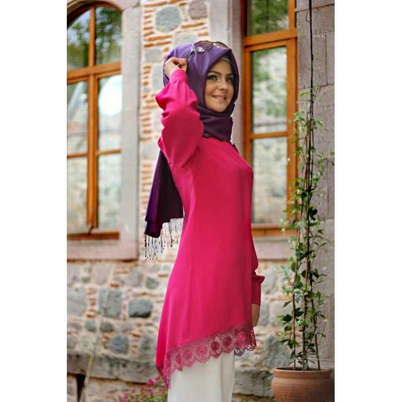 Pınar Şems Fuşya Dantel Tunik Modelleri