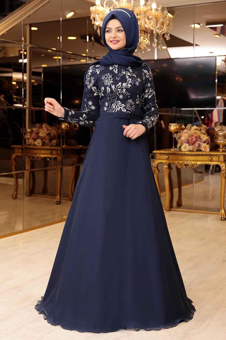 Pınar Şems Lacivert Abiye Modelleri