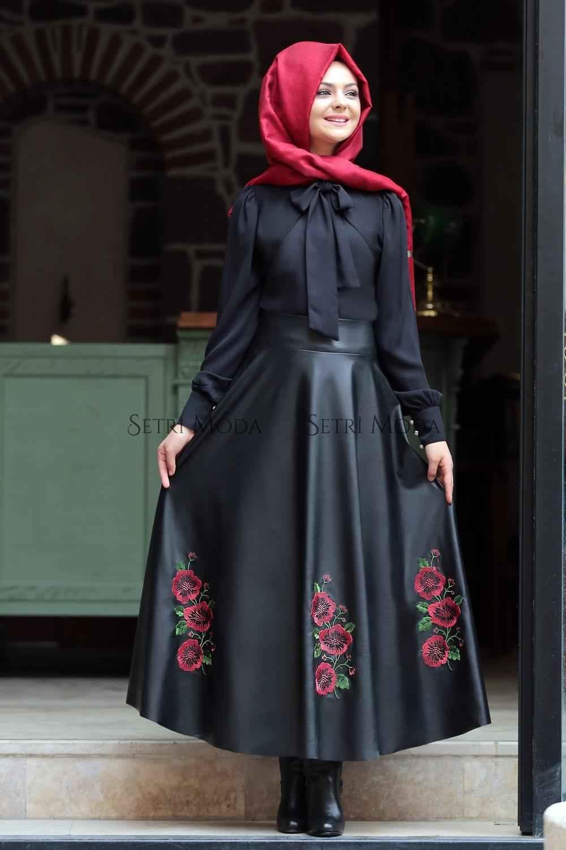 Pınar Şems Tesettür Nakışlı Elbise Modelleri