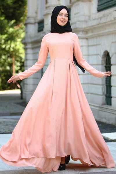 Pembe Sedanur Tesettür Elbise Modelleri