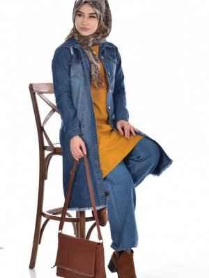 Tesettür Kot Uzun Ceket Modelleri