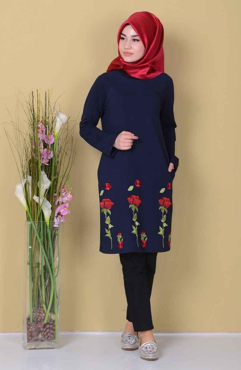 Ucu Nakışlı Tesettür Elbise Modelleri