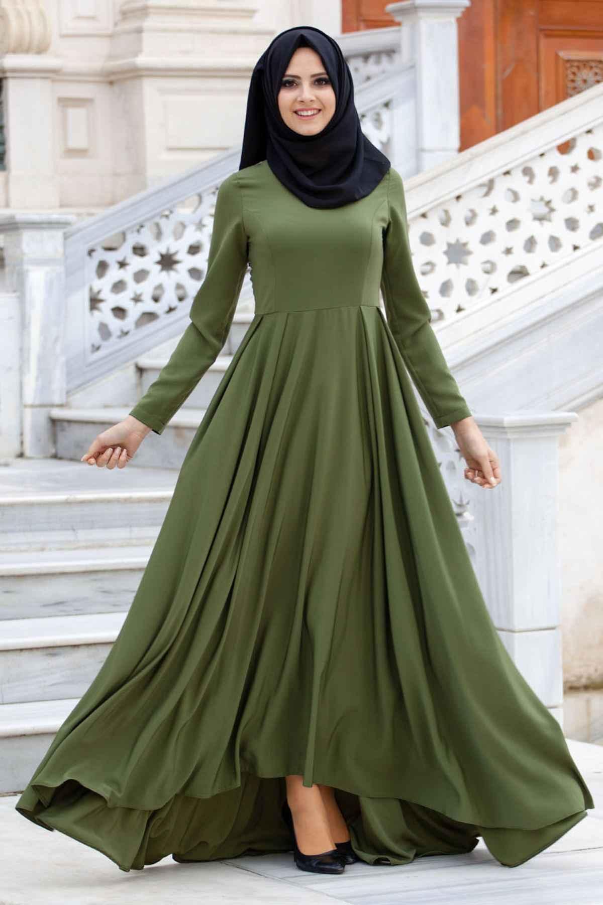 Yeşil Sedanur Tesettür Elbise Modelleri