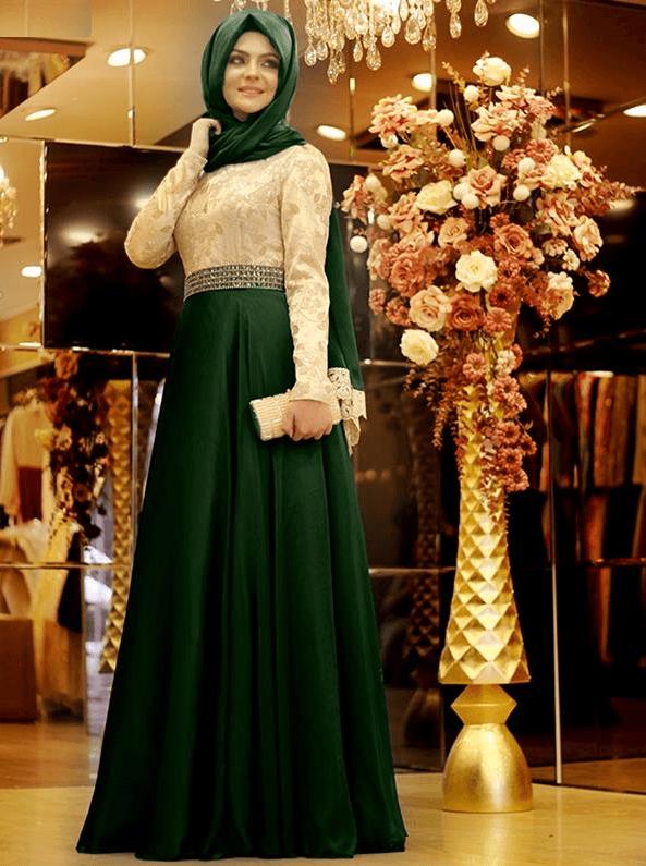 Çift Renkli Pınar Şems Tesettür Abiye Modelleri
