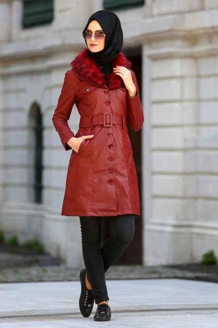 9457cbb4f4a2a Bordo Uzun Tesettür Deri Ceket Modelleri - Moda Tesettür Giyim
