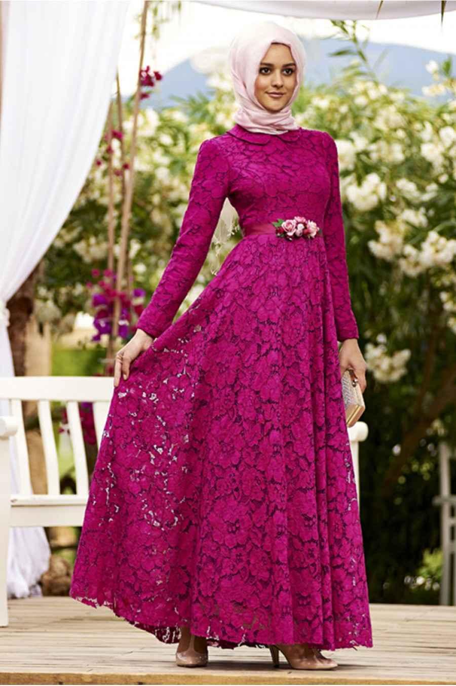 En Güzel Tesettür Güpür Elbise Modelleri