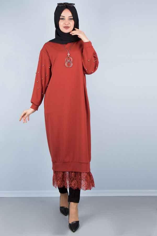 Etek Ucu Dantelli Genç Elbise Modelleri