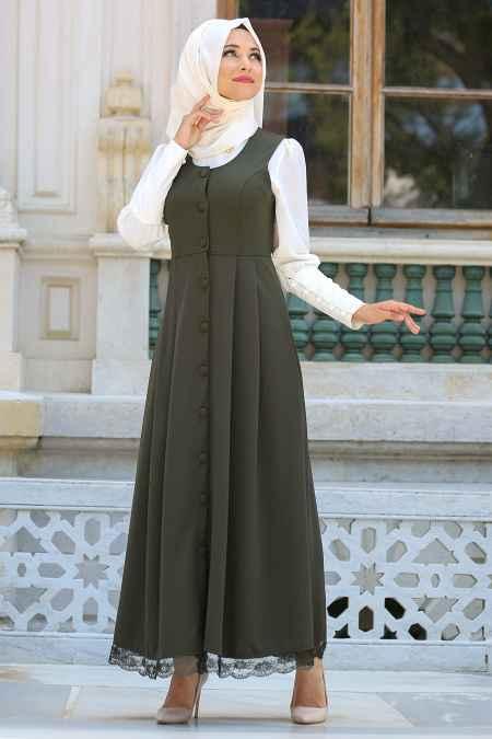 Etek Ucu Dantelli Haki Elbise Modelleri
