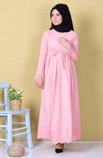 Etek Ucu Dantelli Pembe Elbise Modelleri