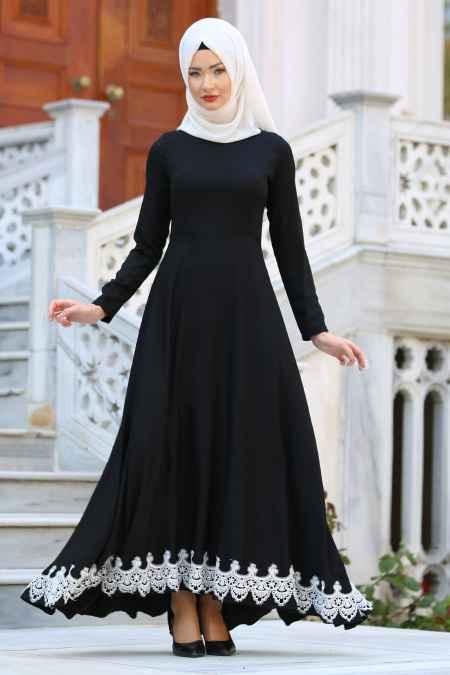 Etek Ucu Dantelli Siyah Elbise Modelleri