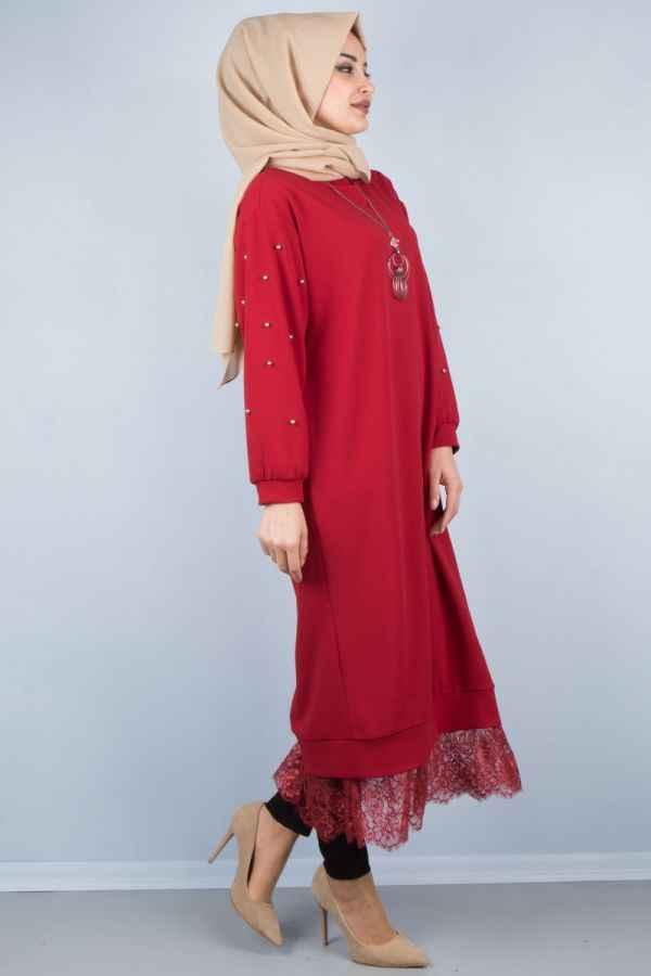 Etek Ucu Dantelli Tunik Elbise Modelleri