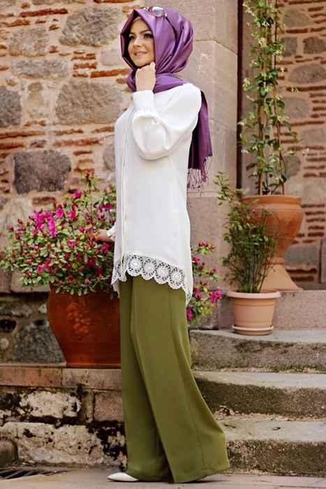 Haki Yeşili Tesettür Kumaş Pantolon Modelleri