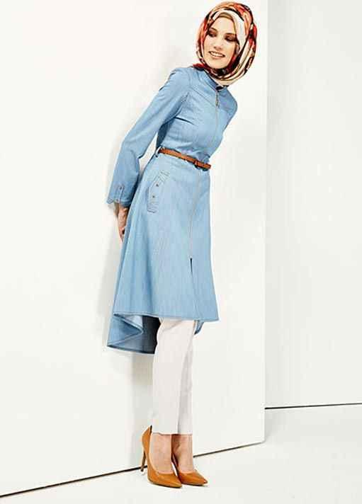 Mavi Tesettür Yazlık Tunik Modelleri